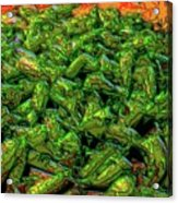 Green Bean Montage Acrylic Print by Ron Bissett