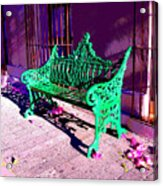 Green Bench By Michael Fitzpatrick Acrylic Print by Mexicolors Art Photography