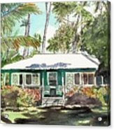 Green Cottage Acrylic Print by Marionette Taboniar