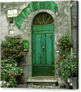 Green Door Acrylic Print by Karen Lewis