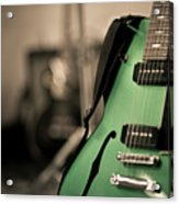 Green Electric Guitar With Blurry Background Acrylic Print by Sean Molin - www.seanmolin.com