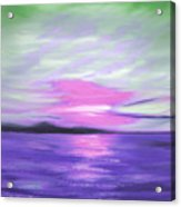 Green Skies And Purple Seas Sunset Acrylic Print by Gina De Gorna