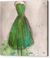 Green Strapless Dress Acrylic Print by Lauren Maurer