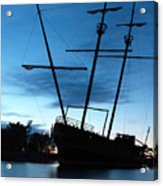 Grounded Tall Ship Silhouette Acrylic Print by Oleksiy Maksymenko