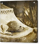 Grunge Photo Of Hammock And Book Acrylic Print by Sandra Cunningham