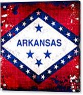 Grunge Style Arkansas Flag Acrylic Print by David G Paul
