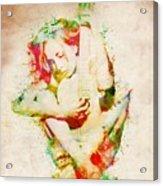Guitar Lovers Embrace Acrylic Print by Nikki Smith