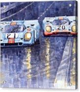 Gulf-porsche 917 K Spa Francorchamps 1970 Acrylic Print by Yuriy  Shevchuk