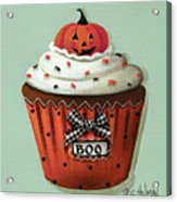 Halloween Pumpkin Cupcake Acrylic Print by Catherine Holman