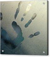Handprint On Foggy Window Acrylic Print by Sami Sarkis