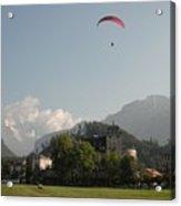 Hang Gliding In Interlaken Switzerland  Acrylic Print by Marilyn Dunlap