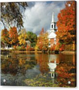 Harrisville New Hampshire - New England Fall Landscape White Steeple Acrylic Print by Jon Holiday