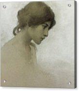 Head Of A Girl  Acrylic Print by Franz Dvorak