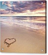 Heart On The Beach Acrylic Print by Elusive Photography
