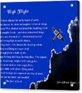 High Flight Acrylic Print by Mike Flynn