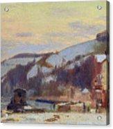 Hillside At Croisset Under Snow Acrylic Print by Joseph Delattre
