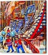 Hockey Game Near The Red Staircase Acrylic Print by Carole Spandau