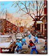 Hockey Gameon Jeanne Mance Street Montreal Acrylic Print by Carole Spandau