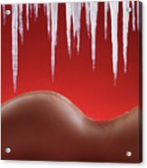 Hot Naked Woman Body Under Melting Icicles Acrylic Print by Oleksiy Maksymenko