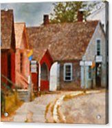 Houses - Maritime Village  Acrylic Print by Mike Savad