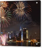 Hudson River Fireworks Iv Acrylic Print by Clarence Holmes