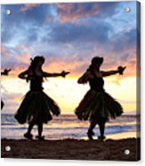 Hula At Sunset Acrylic Print by David Olsen