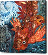 Humanity Fish Acrylic Print by Emily McLaughlin