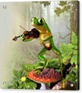 Humorous Tree Frog Playing A Fiddle Acrylic Print by Regina Femrite
