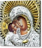 Icon Of The Bl Virgin Mary W Christ Child Acrylic Print by Jake Hartz