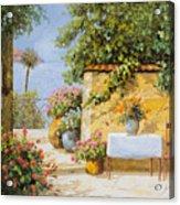 Il Muretto E Il Mare Acrylic Print by Guido Borelli