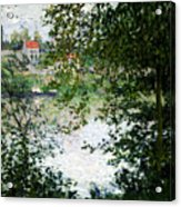 Ile De La Grande Jatte Through The Trees Acrylic Print by Claude Monet