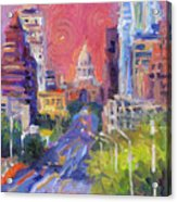 Impressionistic Downtown Austin City Painting Acrylic Print by Svetlana Novikova