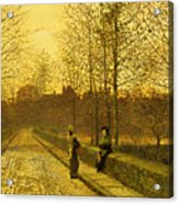 In The Golden Gloaming Acrylic Print by John Atkinson Grimshaw