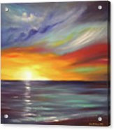 In The Moment Square Sunset Acrylic Print by Gina De Gorna