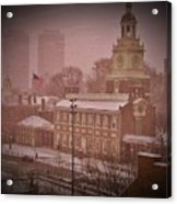 Independence Hall In The Snow Acrylic Print by Bill Cannon