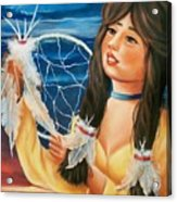 Indian Maiden With Dream Catcher Acrylic Print by Joni McPherson