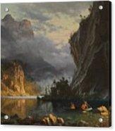 Indians Spear Fishing Acrylic Print by Albert Bierstadt