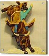 Intarsia Bull-rider Acrylic Print by Russell Ellingsworth