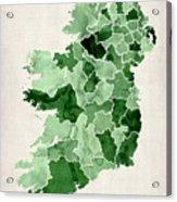 Ireland Watercolor Map Acrylic Print by Michael Tompsett