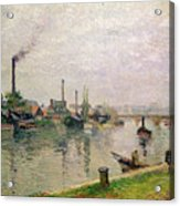 Island Of The Cross At Rouen Acrylic Print by Camille Pissarro