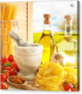 Italian Pasta In Country Kitchen Acrylic Print by Amanda And Christopher Elwell
