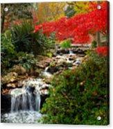 Japanese Garden Brook Acrylic Print by Jon Holiday