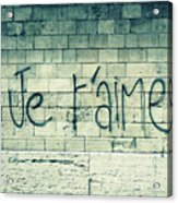 Je T'aime Acrylic Print by Will Grant