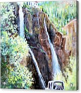 Jeeping At Bridal Falls  Acrylic Print by Linda Shackelford