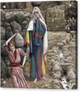 Jesus And His Mother At The Fountain Acrylic Print by Tissot