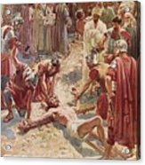 Jesus Being Crucified Acrylic Print by William Brassey Hole