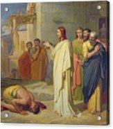 Jesus Healing The Leper Acrylic Print by Jean Marie Melchior Doze