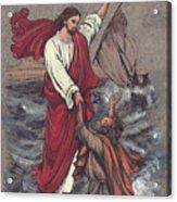 Jesus Saves Peter Acrylic Print by Morgan Fitzsimons