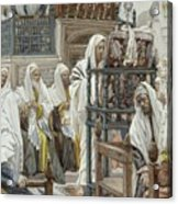 Jesus Unrolls The Book In The Synagogue Acrylic Print by Tissot