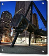 Joe Louis Fist Statue Jefferson And Woodward Ave. Detroit Michigan Acrylic Print by Gordon Dean II